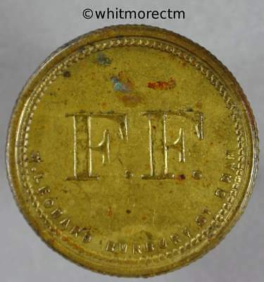 25mm Value Stated Token F.F. / 6D By Leonard - Gilt brass