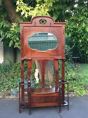 Magnificent Antique Art Nouveau Hall Stand with Box Seat!