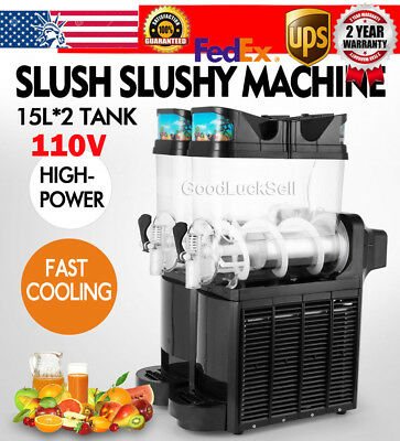 Commercial 15L*2 Tank Frozen Drink Slush Slushy Making Machine Smoothie Maker US