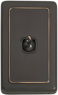 1 Gang Antique Copper Heritage Style Toggle Light Switch - Brown Insert 5912