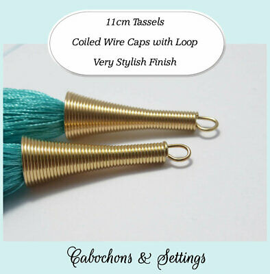 2 x 11cm Tassels with Coiled Wire Caps Choose Your Colour
