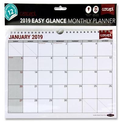 Monthly Planner 2019 month to view Calendar Office Home Organiser Wall Reminder