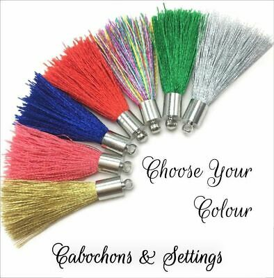 10 x 4cm Silk Tassels with Silver Caps Choose Your Colour