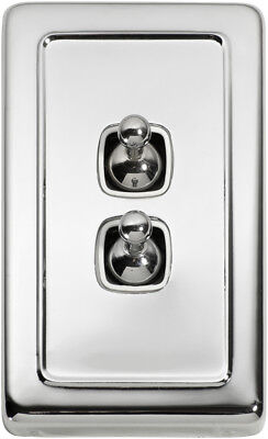 2 Gang Chrome Heritage Style Toggle Light Switch - White Insert 5943