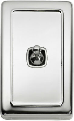 1 Gang Chrome Heritage Style Toggle Light Switch - White Insert 5942