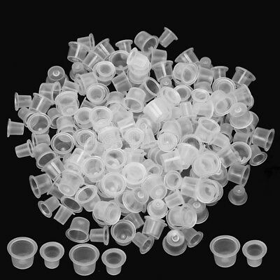 200Pcs Ink Cups Pigment Holder Medium & Small 100 Each 12mm/8mm Tattoo Supplies