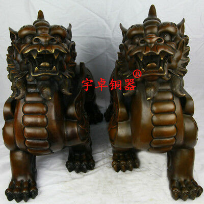 "17"" A pair China old antique bronze copper kylin unicorn Statues Collection"