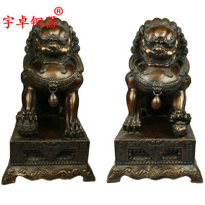 """23"""" A pair China old antique bronze copper luck foo dog palace gate lion Statues"""