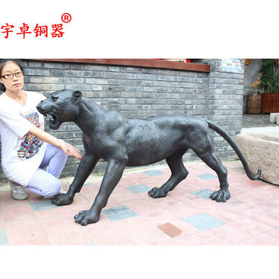 "69"" China old antique bronze copper panther black Leopard Statues Collection"