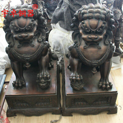 """38"""" A pair China old antique bronze luck foo dog palace lion Statues"""