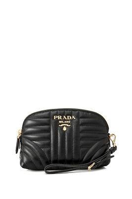 0c0a8670ac94 PRADA SOFT CALF Impunture Wristlet (Black  Calfskin Leather ...