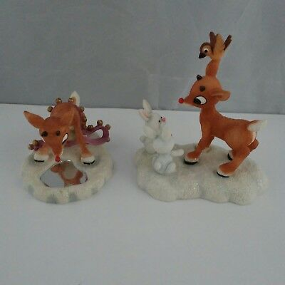 Lot of 2 Rudolph Red Nosed Reindeer Figurines And The Island of Misfit Toys