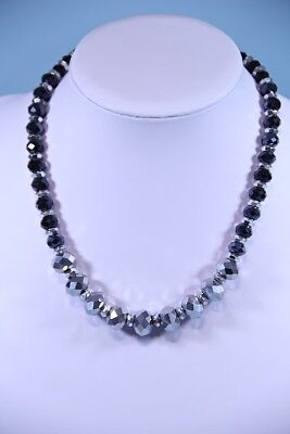Vintage black and silver beaded necklace..