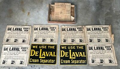 Vintage 8 De Laval Cream Separator Tin Signs with Original Shipping Crate Stelad