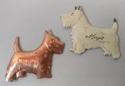 TWO Vintage Scottie Dog Pins Scottish Terrier COPPER WHT.MARGIE Metal Pin Brooch