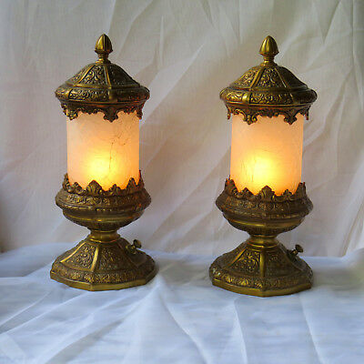 Pair of Jennings Brothers Mantle or Boudoir lamps-Ex. Condition-10 in-Signed