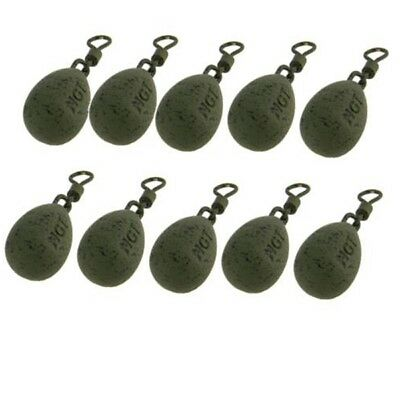CARP FISHING LEADS WITH SWIVEL 1.5 - 3.0oz WEIGHTS LEAD PEAR 10 PACK NGT