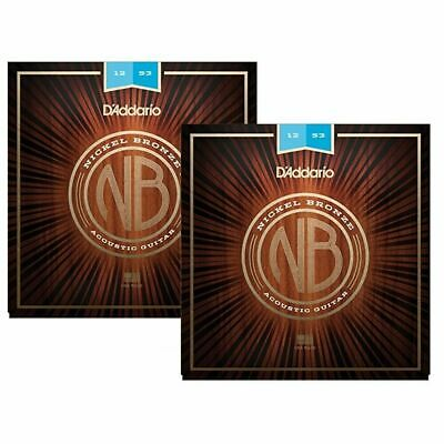 2 X D'Addario Nickel Bronze Acoustic Guitar Strings,Light 12 - 53  NB1253 2 Sets