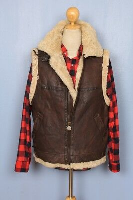Real Leather Authentic Shearling Sheepskin Marlboro Man Rugged Brown Vest M
