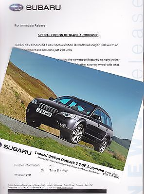Official SUBARU Press Release and Photo of the Outback 2.5 SE Automatic