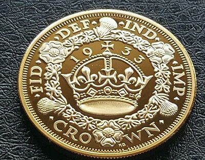 Clearance Collectable British George V Commemorative Gold Plate 1933 Crown Coin