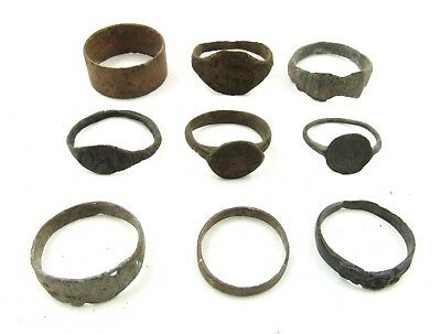 Authentic Lot Of 9 Ancient / Medieval Bronze Rings For Cleaning - G700