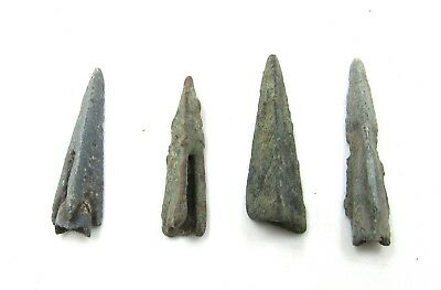Authentic Lot Of 4 Ancient Scythian Bronze Arrow Heads - G704