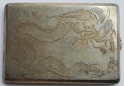 Antique Chinese Sterling Silver Cigarette Case With Engraved Dragon