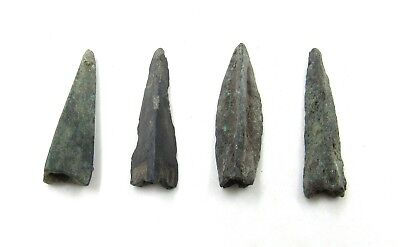 Authentic Lot Of 4 Ancient Scythian Bronze Arrow Heads - G705