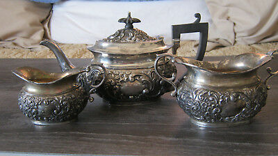 Antique Victorian Sterling Silver Bachelor's Tea Pot Set Mid 1800's