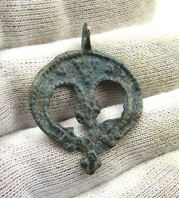 Authentic Medieval Viking Era Bronze Lunar Crescent Pendant W/ Cross - G714