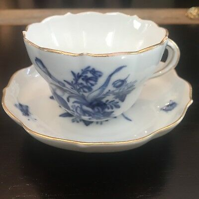 Vintage Meissen Blue White Cup & Saucer Flowers & Insects - Crossed Swords Mark