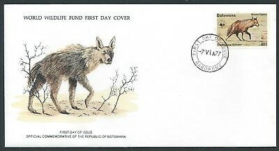 BOTSWANA 1977 SG398 40t - Brown hyena WWF FDC FDI CDS Gaborone Ltd Edition Rare