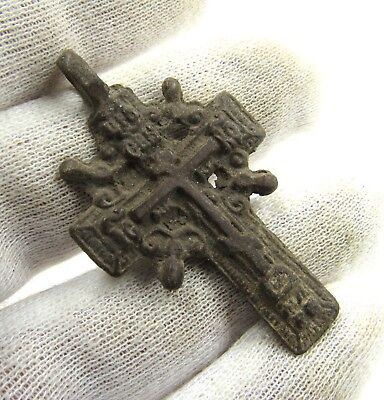 Authentic Late Medieval Bronze Radiate Cross Pendant - Wearable - G722