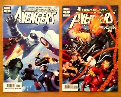 Avengers 8 Covers A + B Variant Cosmic Ghost Riders VS Cover Marvel 2018 NM
