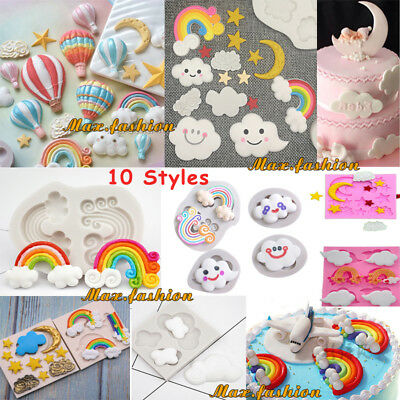 Rainbow Cloud Fondant Cake Silicone Mould Sugarcraft Chocolate Baking Mold Tool