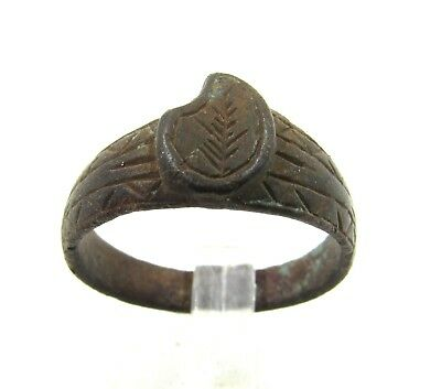 Authentic Late Medieval Bronze Tudor Period Ring W/  Floral Pattern - G725
