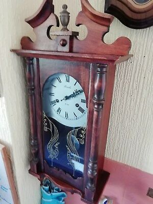 Wood In Mahogany Long Case Wall Clock Made By  Lincoln  (31 Day Wind Up)
