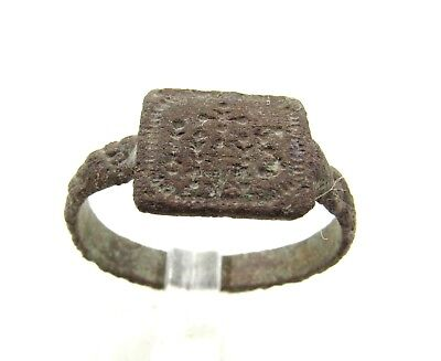 "Authentic Late Medieval Bronze Tudor Period Ring W/  ""ihs"" - G728"