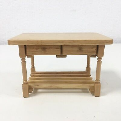 Miniature Dolls House Kitchen Island Table Wooden Wood Drawers Dollshouse