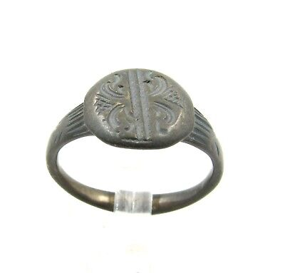 Authentic Late Medieval Bronze Tudor Period Ring W/  Floral Pattern - G729