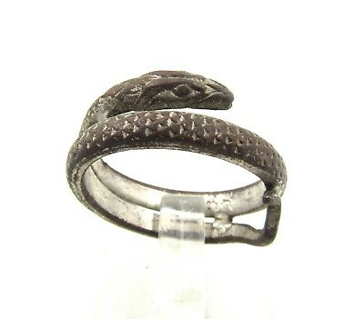 Authentic Medieval Viking Era Silvered Bronze Coiled Snake Ring - G731