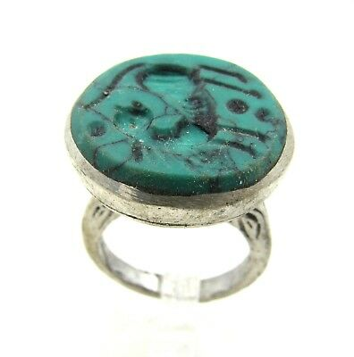 Authentic Post Medieval Silver Ring W/ Intaglio Beast- G732