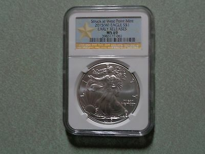2015 (W) American Silver Eagle NGC MS69 West Point Star Label - Early Releases