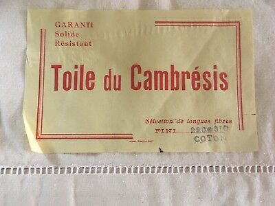 A Matching Pair Of Unused Vintage French Cotton/linen Sheets With Label