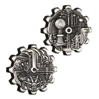 2018 EVOLUTION OF INDUSTRY 1oz Antiqued SILVER GEAR-SHAPED TWO-COIN SET (2oz)