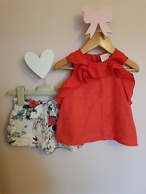 Baby girl zara coral red ruffle top and cream floral shorts 18-24 12-18 months