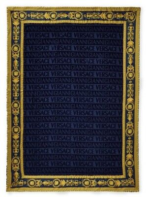 VERSACE  Navy Medusa Baroque Beach Towel New