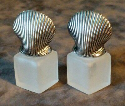 Frosted Glass and Silver Seashell Small Salt & Pepper Shakers