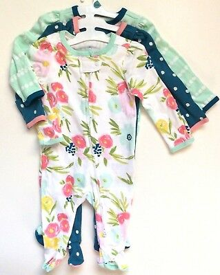 Cloud Island Baby Girls' 3pk Floral/Stripe/Dot Zip Sleep 'N Play